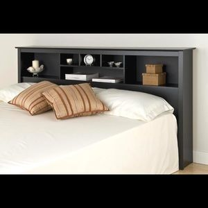 Black Queen size headboard with shelves